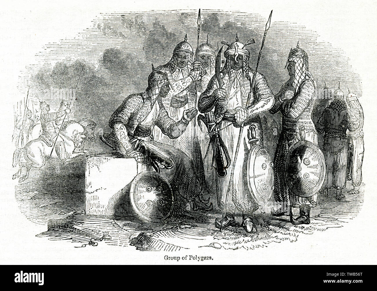 (Polygars Palaiyakkarars, militärischer Leiter) Der Tinnevelly (tirunelveli), Tamil Nadu (Madras), Südindien. Datum: 1842 Stockfoto
