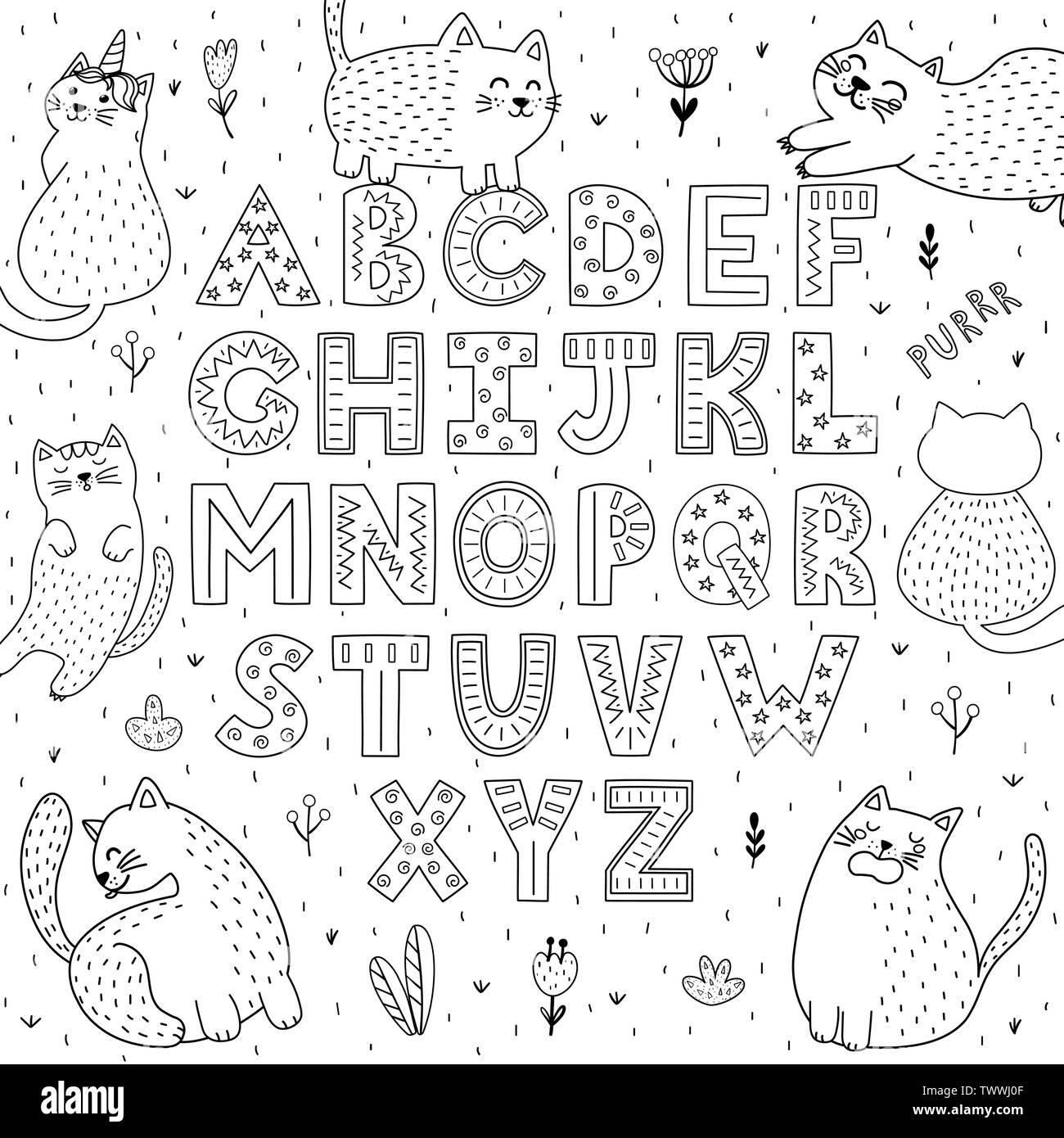 Schwarze und weiße Alphabet mit lustigen Katzen. Abc-Färbung. Vector Illustration Stock Vektor