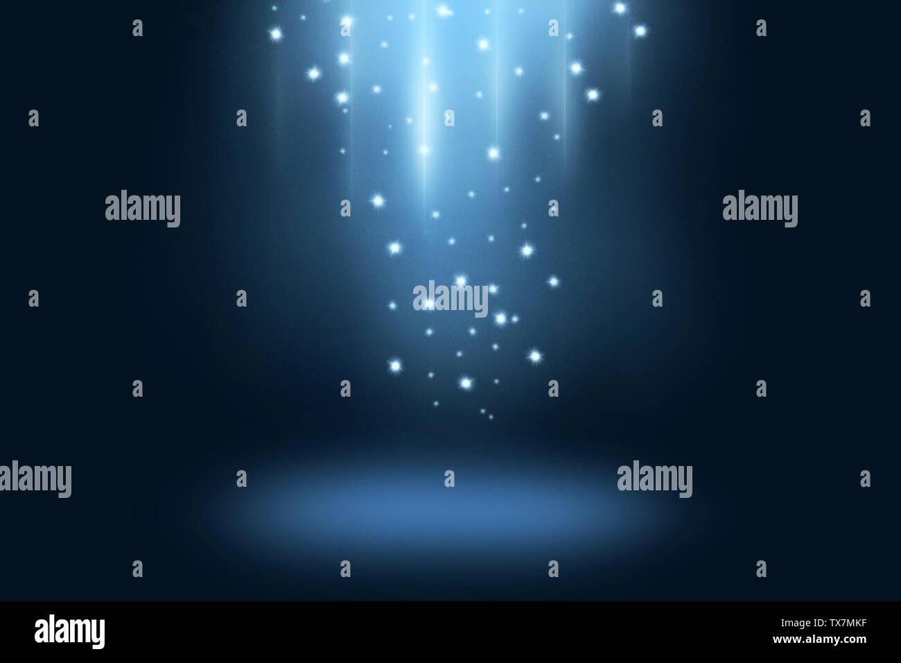 Blau dunkle Bühne und Hintergrund anzeigen mit hellen Sterne und Spotlight Stockfoto