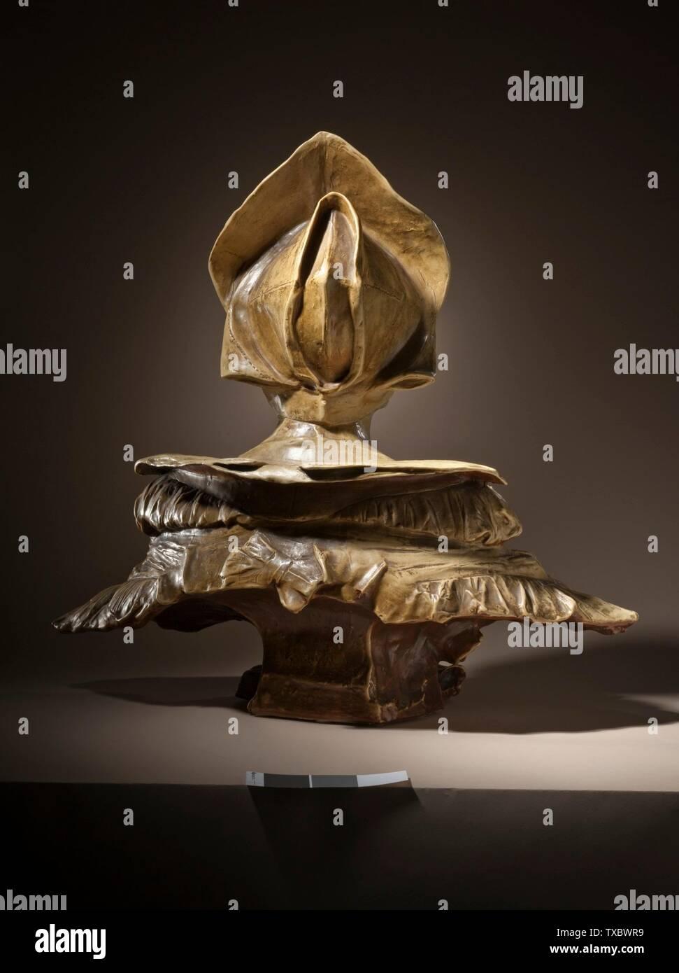 Portrait von Loyse Labbé (Bild 3 von 5); ca. 1883er Steinzeug mit Emailliertem Stein und matter Glasur, getönt von Chamois braun bis schattiert weiß 23 1/8 x 24 1/4 x 12 Zoll. (58,74 x 61,6 x 30,48 cm) Geschenk der Ahmanson Stiftung zu Ehren von Mary L. Levkoff (M.2009.7) Europäische Skulptur, Die Derzeit öffentlich zu sehen ist: Ahmanson Gebäude, 3. Stock; ca. 1887Datum QS:P571,+1887-00-00T00:00:00Z/9,P1480,Q5727902; Stockfoto