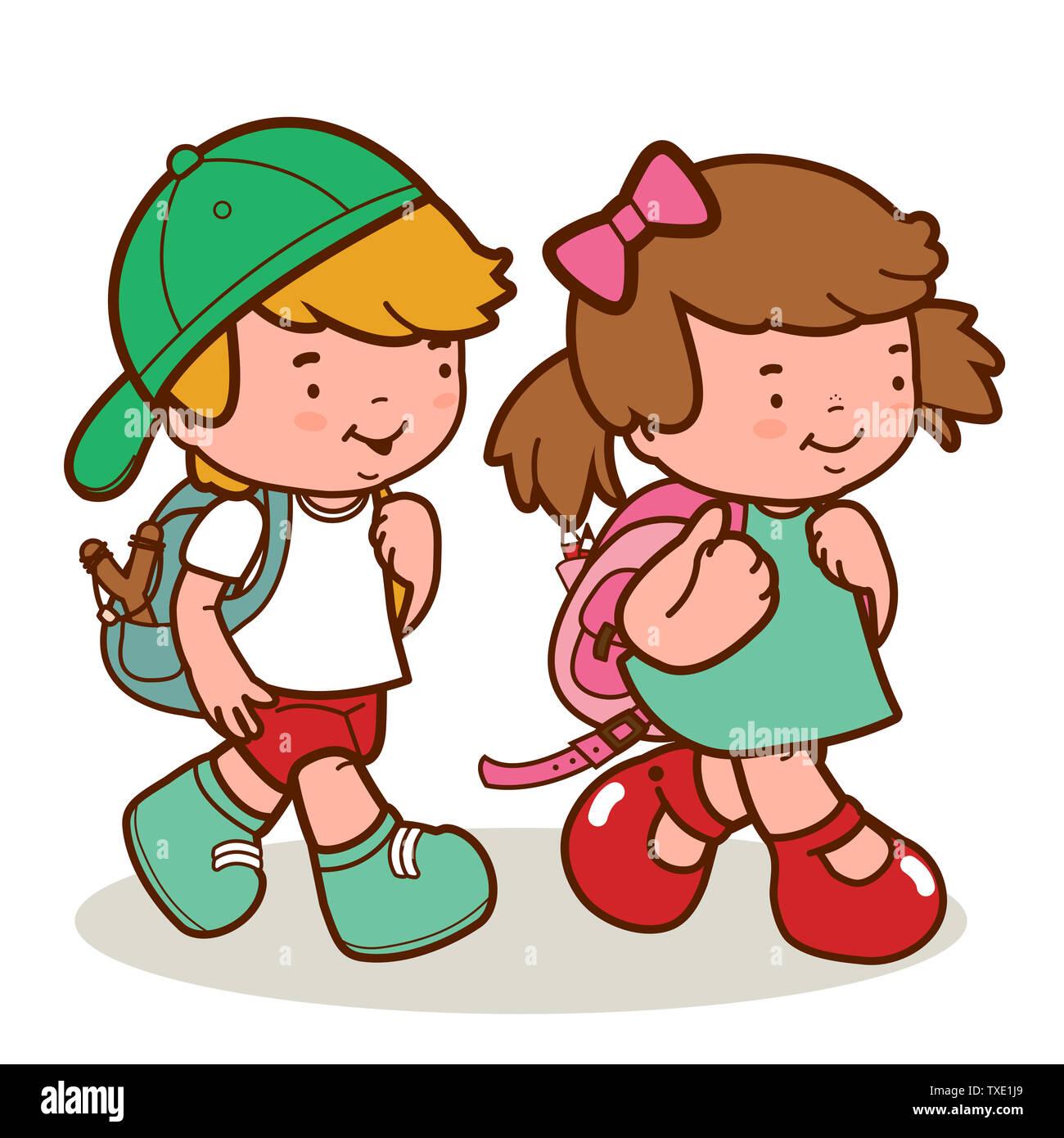 Back School Cartoon Kids Walking Stockfotos Und -bilder