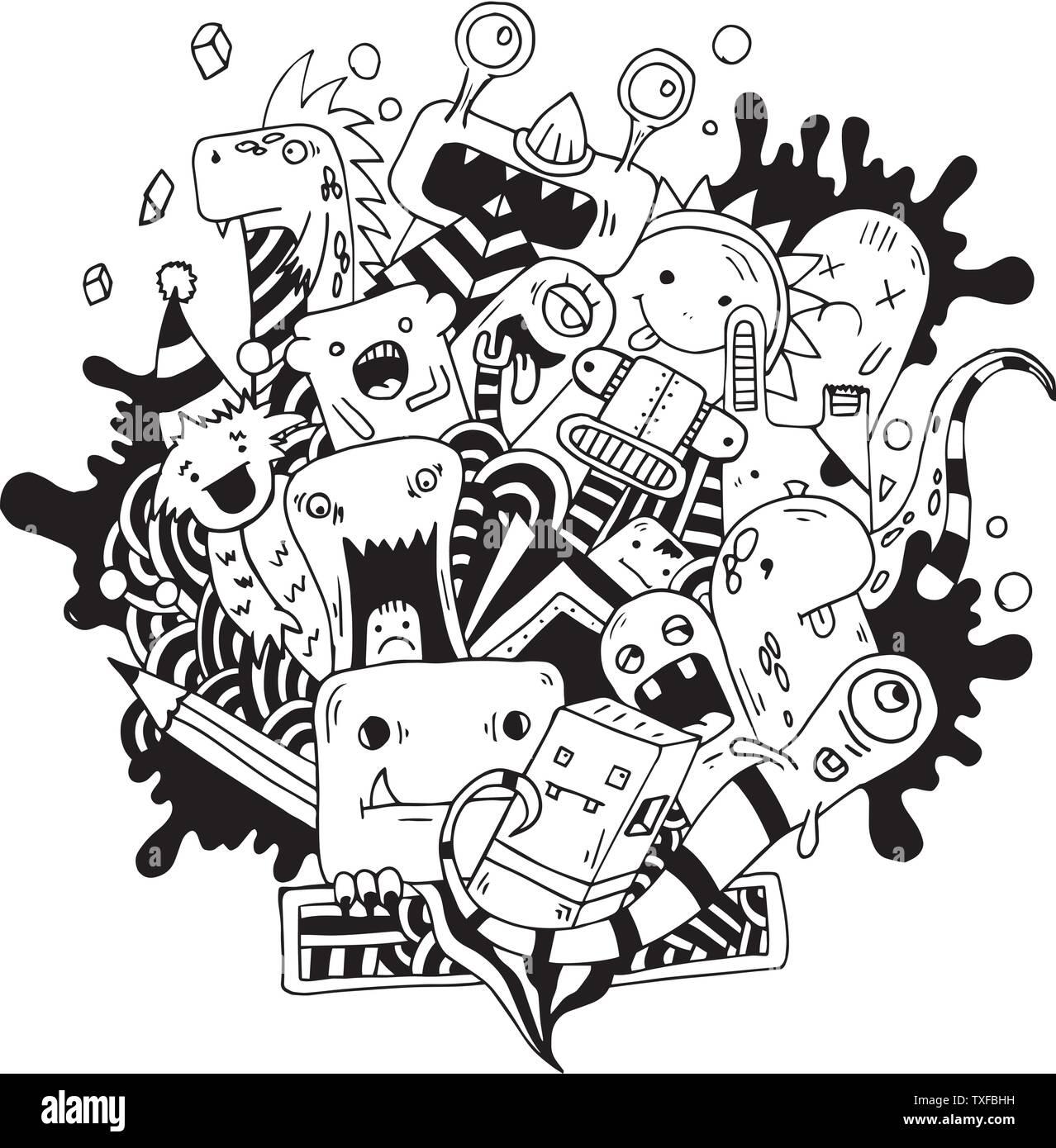 Handzeichnung doodle Monster auf Weiß Stock Vektorgrafik   Alamy