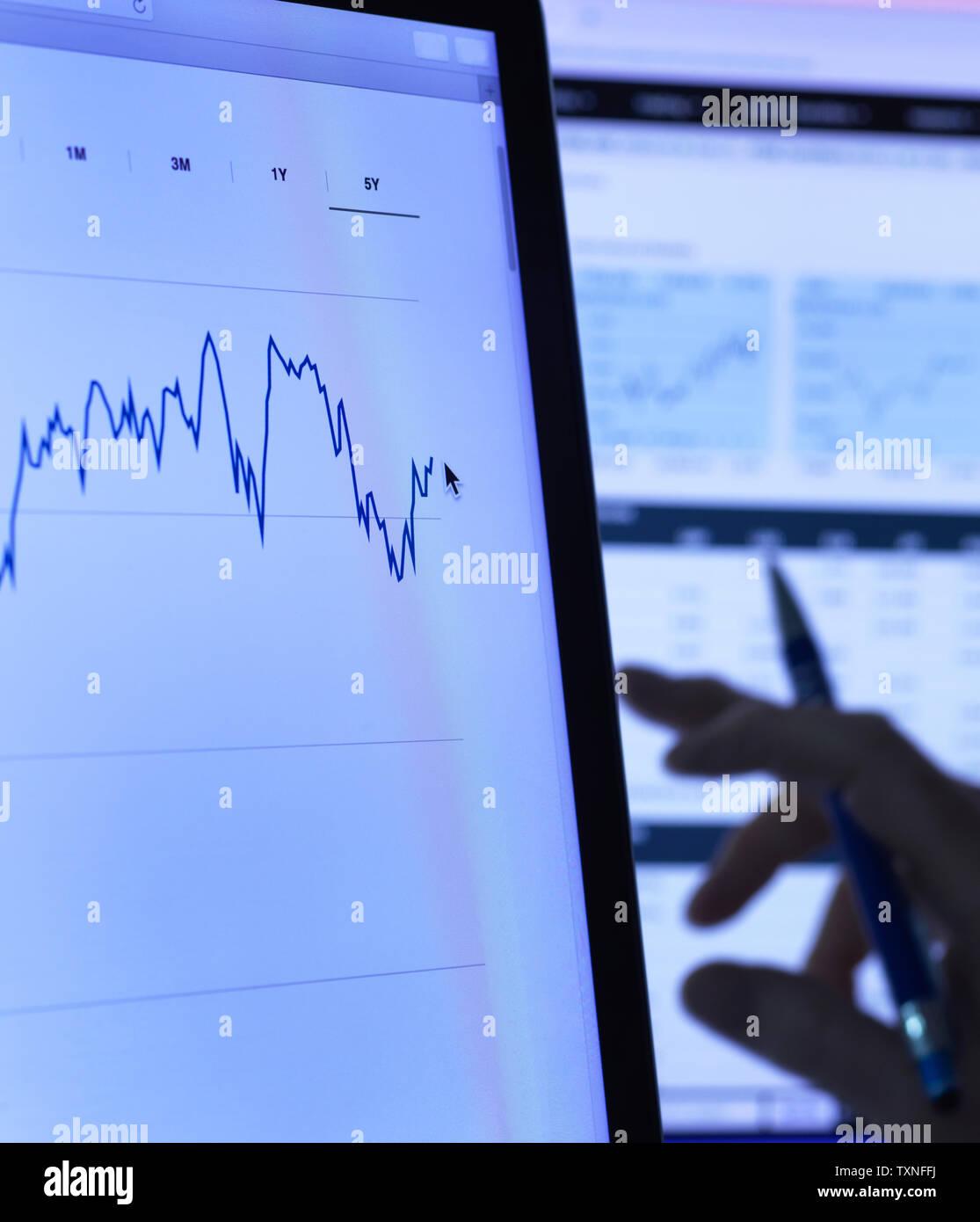 Finanzdienstleistungen, Lager der Analyst untersucht das Aktienkurs Daten eines Unternehmens auf dem Computer, in der Nähe Stockbild