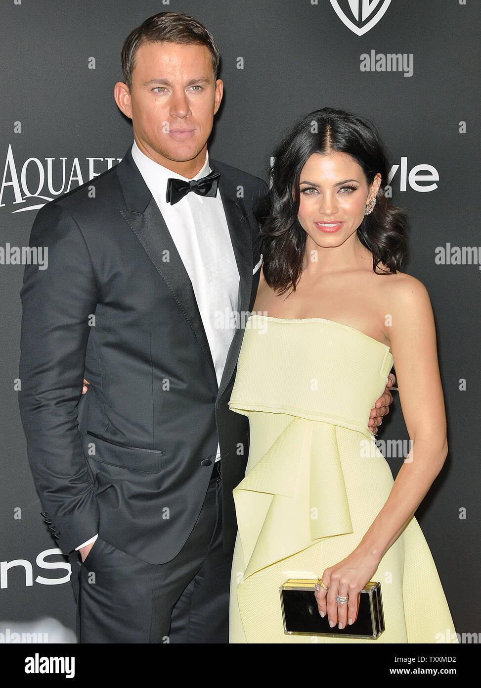 Channing Tatum und seiner Frau Jenna Dewan-Tatum kommen an der lnStyle und Warner Brothers Golden Globes After Party im Beverly Hilton Hotel in Beverly Hills, Kalifornien am 11. Januar 2015. Foto von Christine Kauen/UPI Stockbild