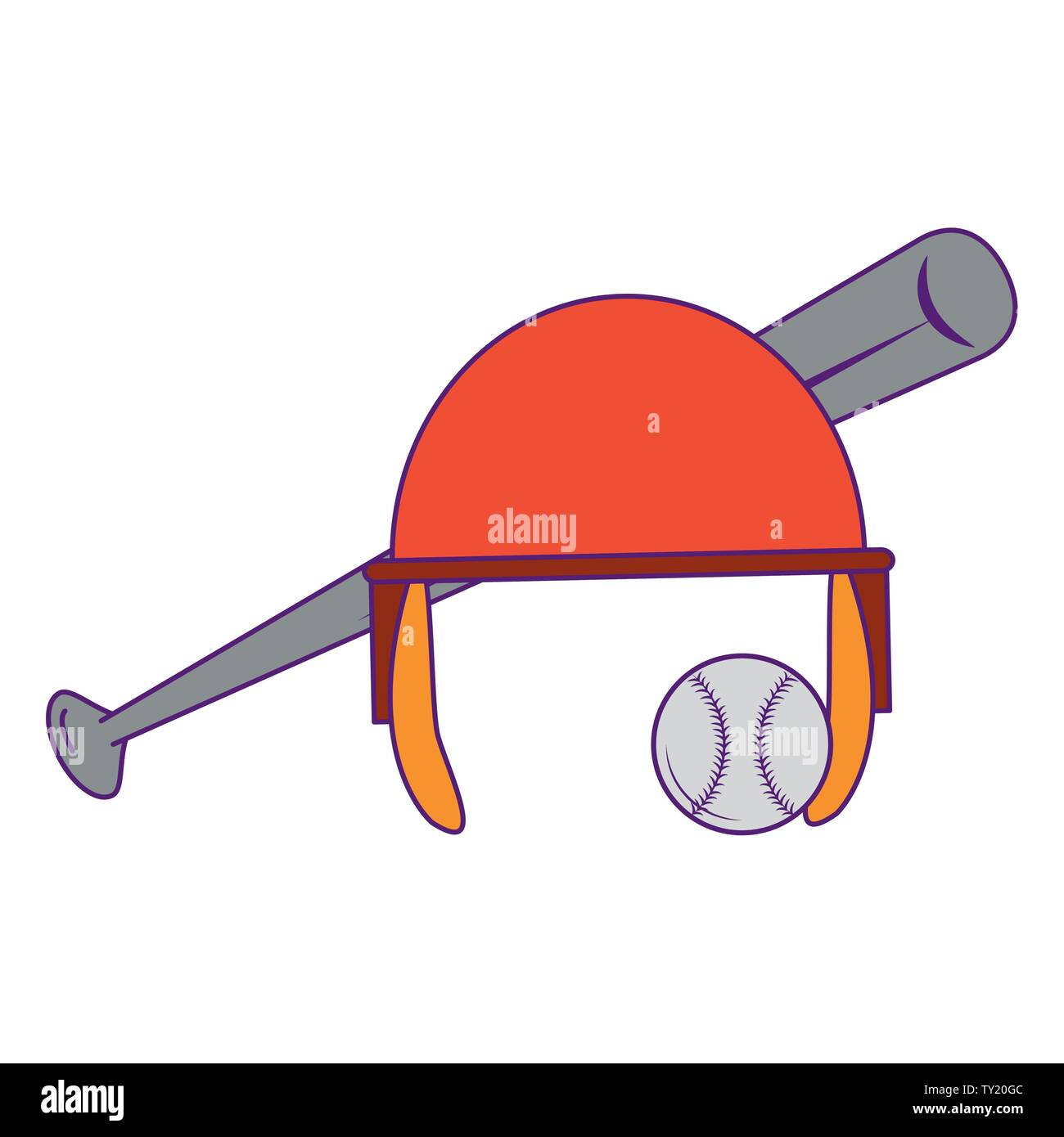 Baseball equiment Elemente Kugel, Aluminium bat und Teig Helm icon cartoon Vector Illustration graphic design Stockbild