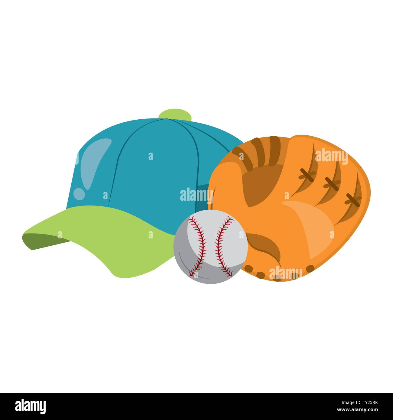 Baseball equiment Elemente Kugel, Catcher golve und Hut Symbol cartoon Vector Illustration graphic design Stockbild