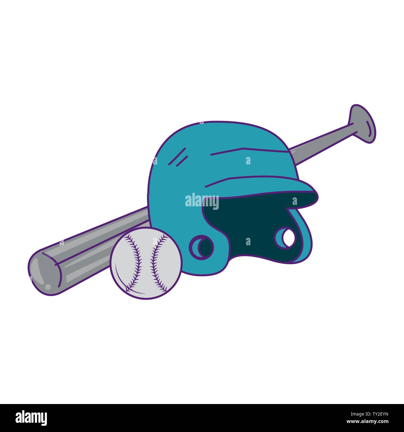 Baseball equiment Elemente Kugel, Teig Helm und Aluminium bat Symbol cartoon Vector Illustration graphic design Stockbild