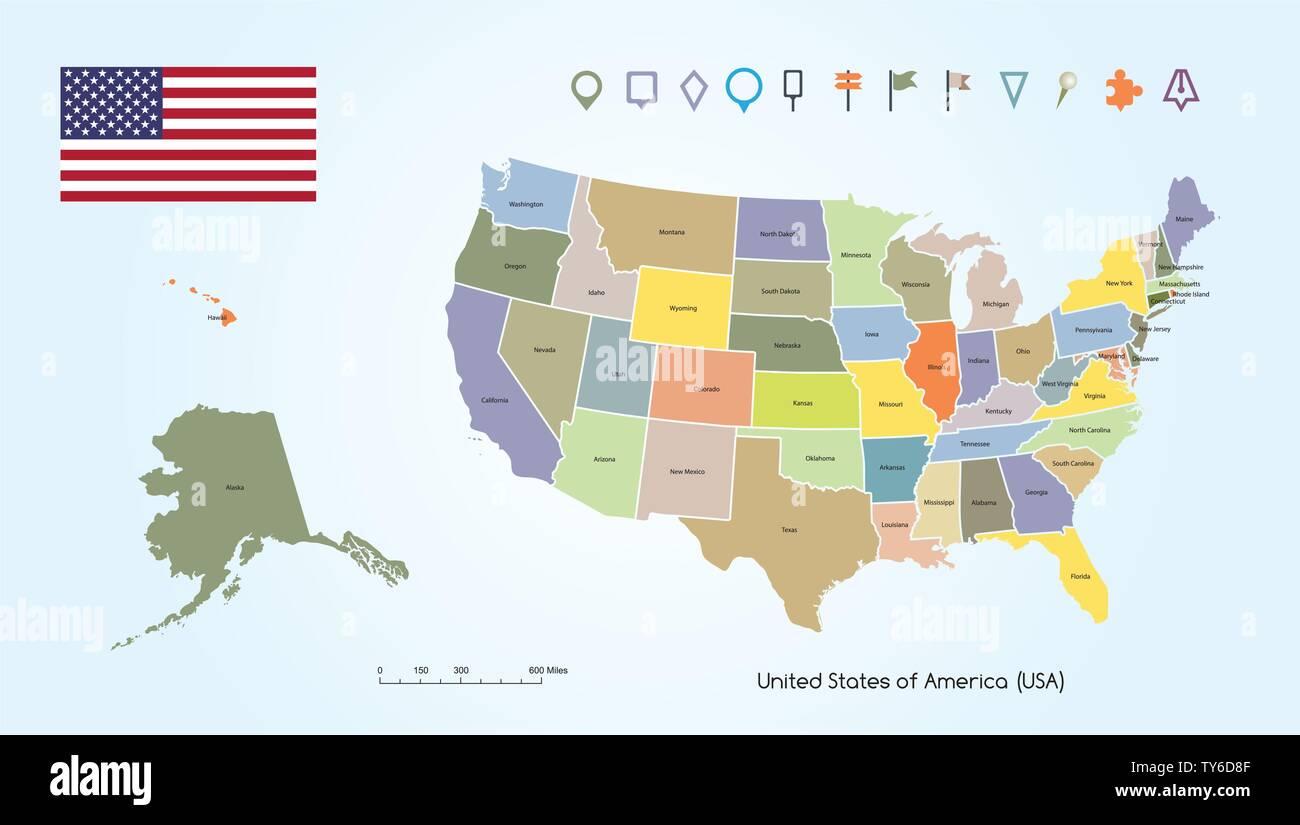 Amerika Karte Staaten.Vector Illustration Eines High Detail Karte Der Vereinigten