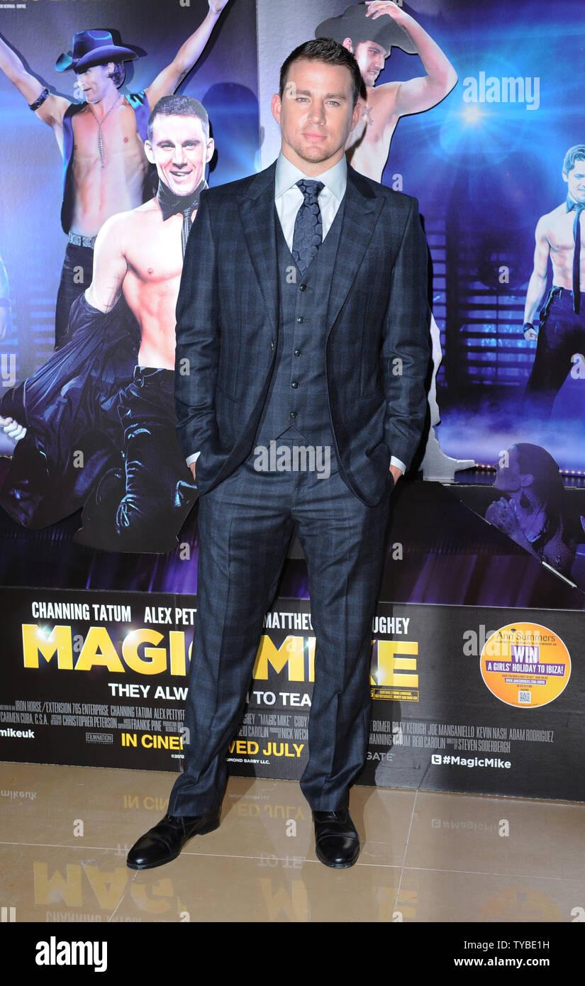 Amerikanischer Schauspieler Channing Tatum besucht die Europäische Premiere von 'Magic Mike'im Mayfair Hotel in London am 10. Juli 2012. UPI/Paul Treadway Stockbild