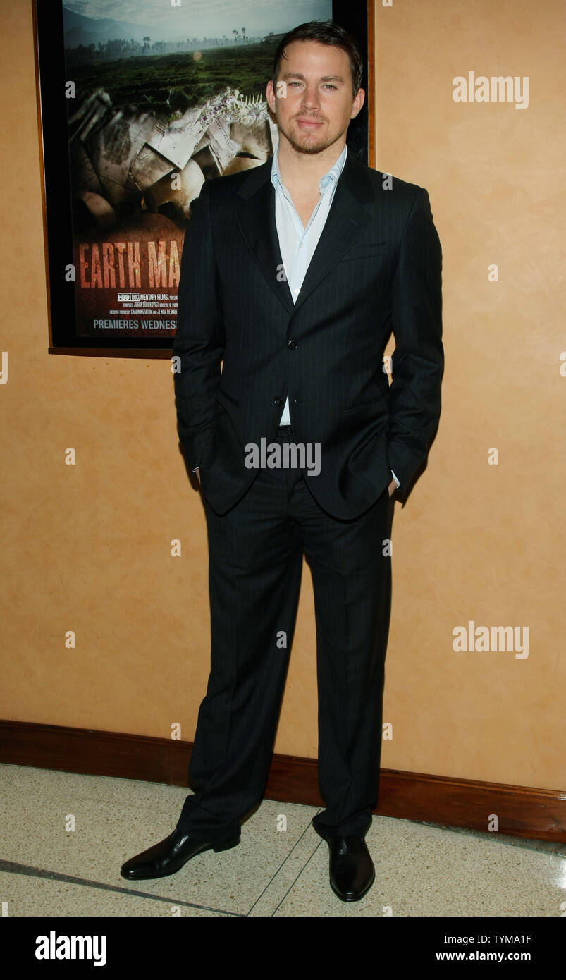 """Channing Tatum kommt für die Premiere des Dokumentarfilms """"Erde aus Glas' an der HBO-Screening Room am 5. April 2011 in New York City. UPI/Monika Graff Stockbild"""