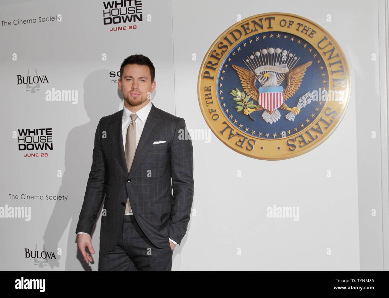 Channing Tatum kommt auf dem roten Teppich bei der Premiere von 'Weißen Haus' im Ziegfeld Theatre in New York City am 25. Juni 2013. UPI/John angelillo Stockbild