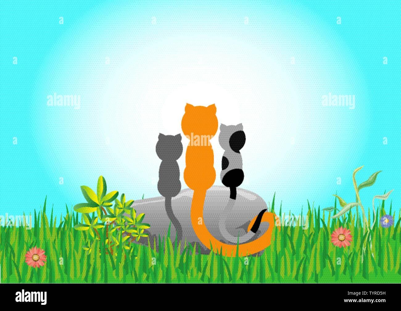 Drei Katzen sitzen auf einem Stein auf der grünen Wiese. Zusammen haben sie Blick auf den blauen Himmel. Stockbild