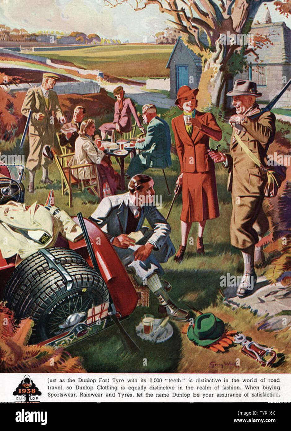 DUNLOP SPORT ANZEIGE 1938 Stockbild