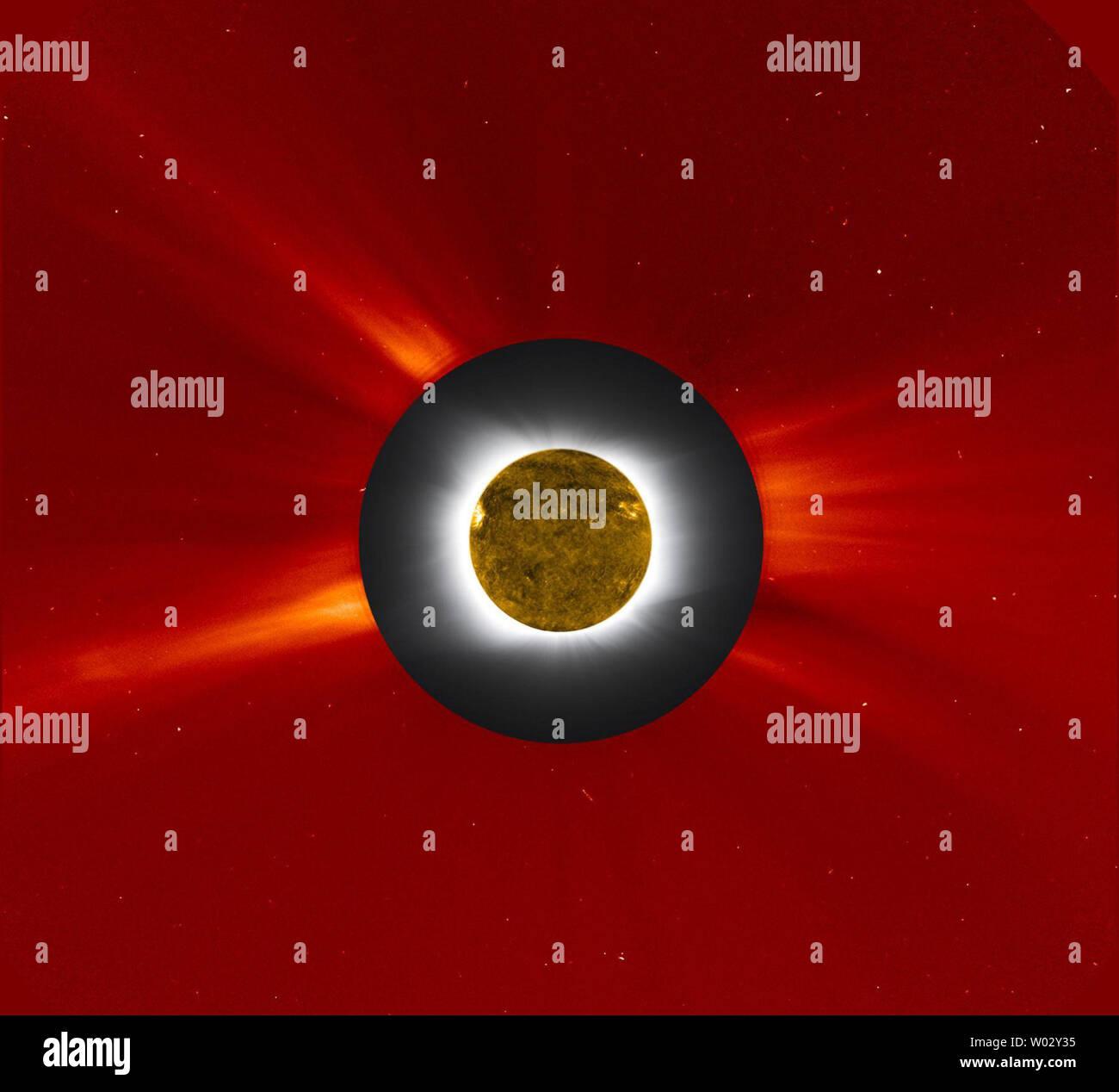 Dieser NASA zusammengesetzte Bild zeigt die neue Mond direkt vor der Sonne vorbei, wodurch insgesamt Solar im Südpazifik, Juli 11, 2010 Eclipse. In diesem Bild, die Sonnenfinsternis ist in Grau und Weiß aus einem Foto vom Williams College Expedition auf der Osterinsel, und war mit einem Bild der äußeren die Sonnenkorona, die von der Großen Winkel massenspektrometrische Coronagraph (LASCO) auf der Raumsonde SOHO und in Rot falschen Farbe angezeigt. LASCO verwendet eine Festplatte, die helle Sonne und die innere Korona auszulöschen, so dass die schwachen äusseren Corona beobachtet und untersucht werden können. Weitere, der dunkle Sil Stockbild