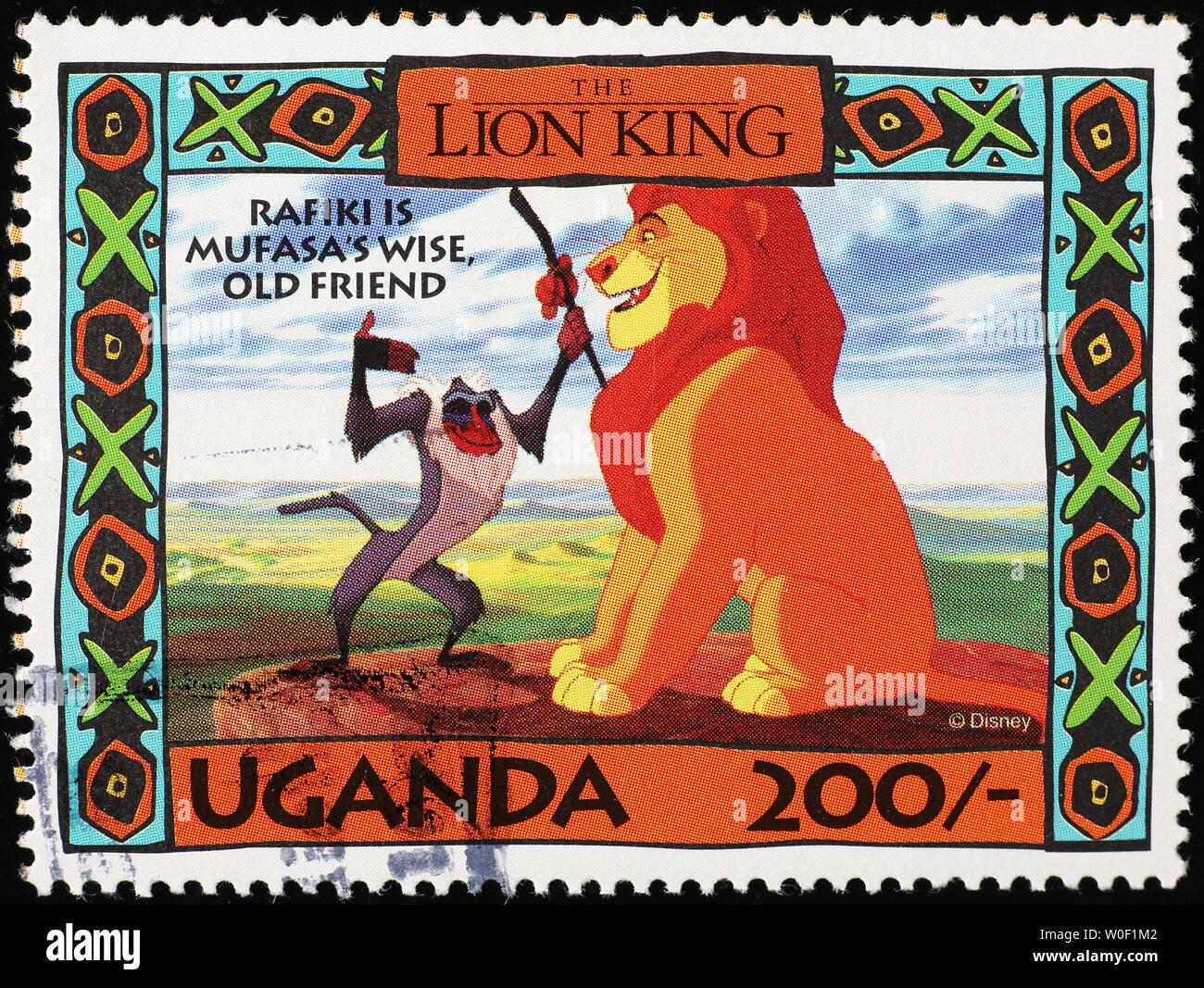 Mufasa und Rafiki von König der Löwen auf Briefmarke Stockbild