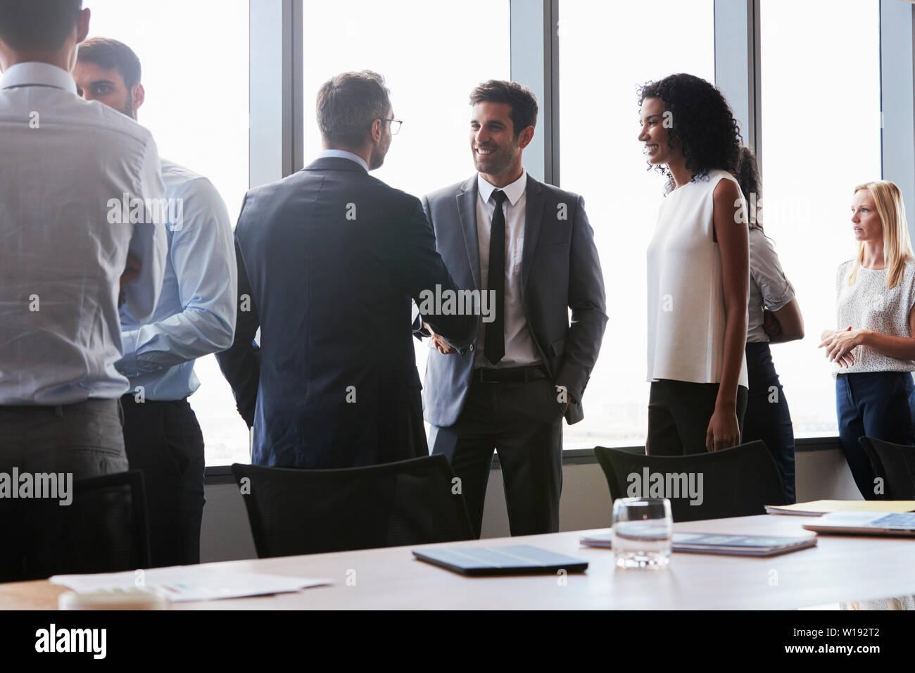 Sitzung, Handshake, Unternehmer, Begrüßung Stockfoto