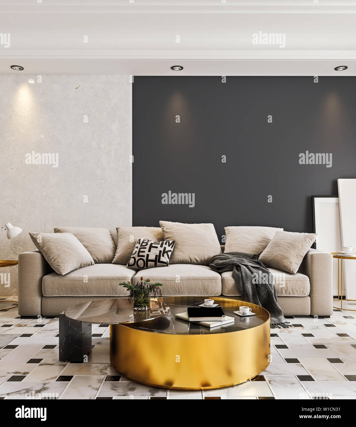 Moderne Raumgestaltung Wohnzimmer mit Marmorboden und grosse ...