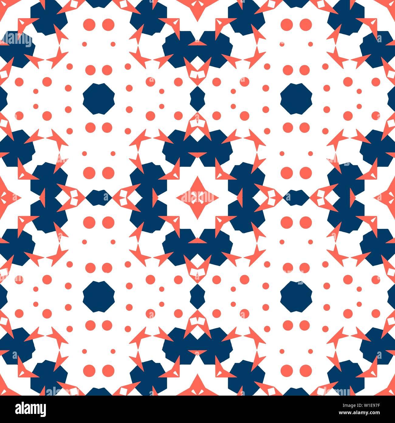 Nahtlose Kacheln. Ornament in Rot (Coral) und blauen Farben ...