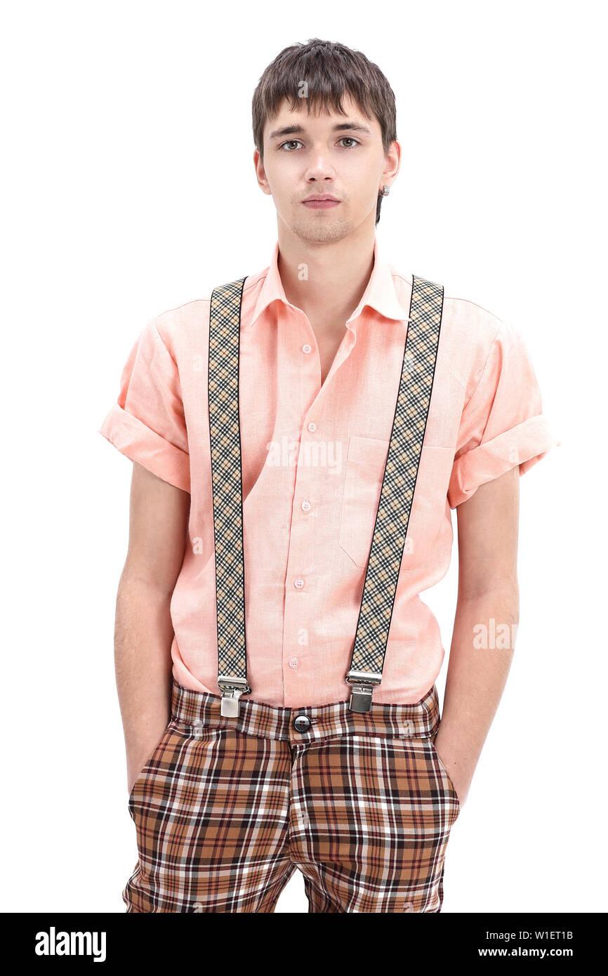 cffcf72f976e0f Jungen Kerl trägt einen bunten altmodischen Kleidung im Stil der pinup. auf  weißem Hintergrund.