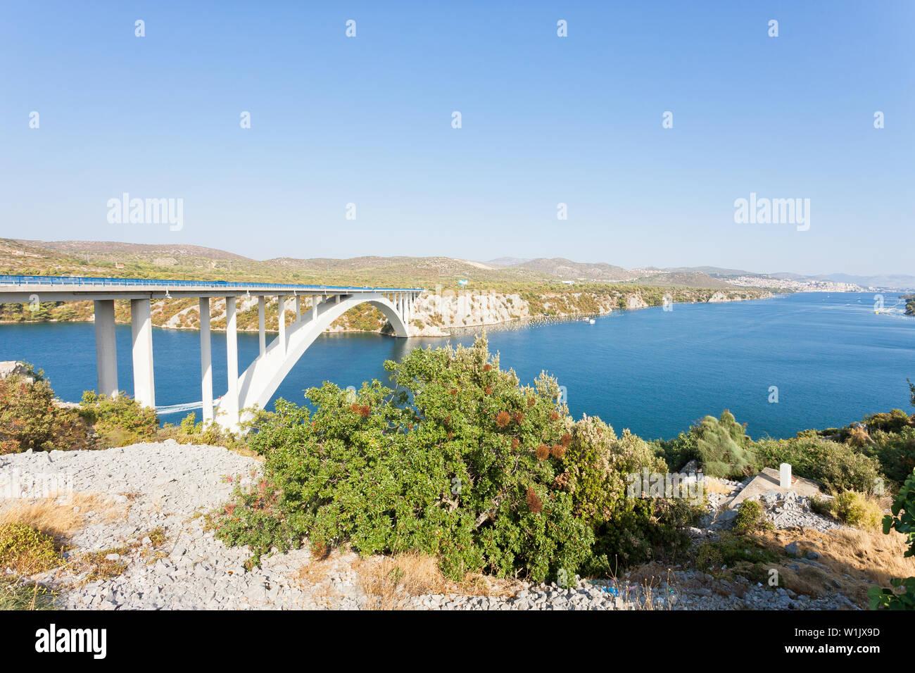 Sibenik, Kroatien, Europa - an der berühmten sibenski Die meisten Brücke Rest Stockfoto