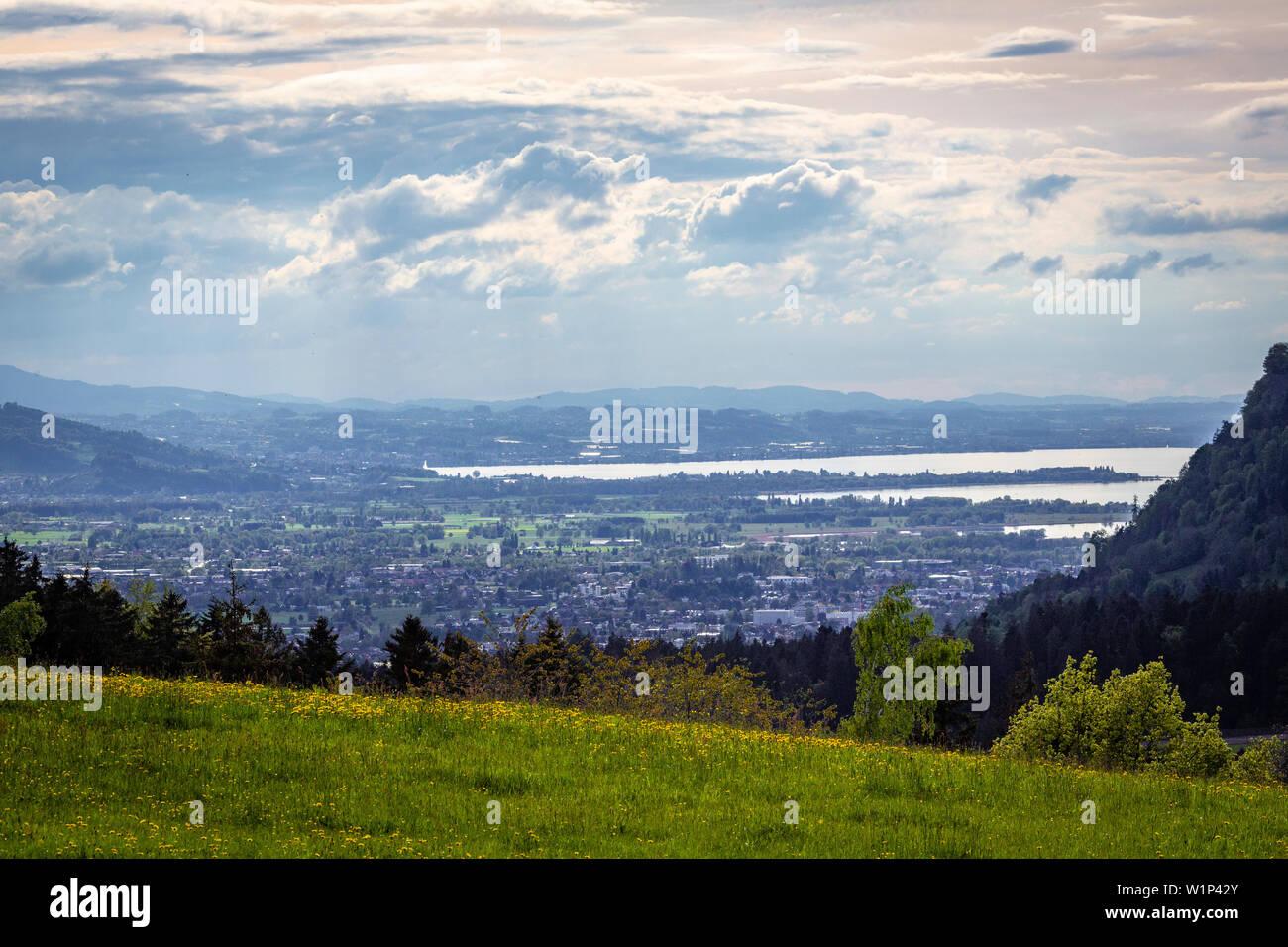 Blick vom Buch zum Bodensee Stockfoto