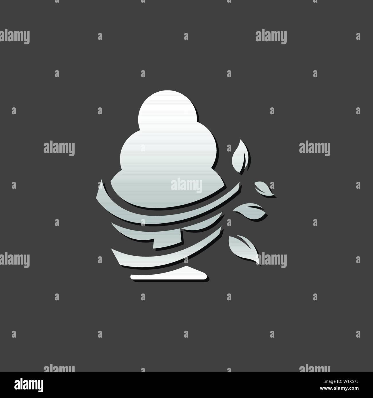 Baum Symbol in metallic grau farbe Stil. Stock Vektor