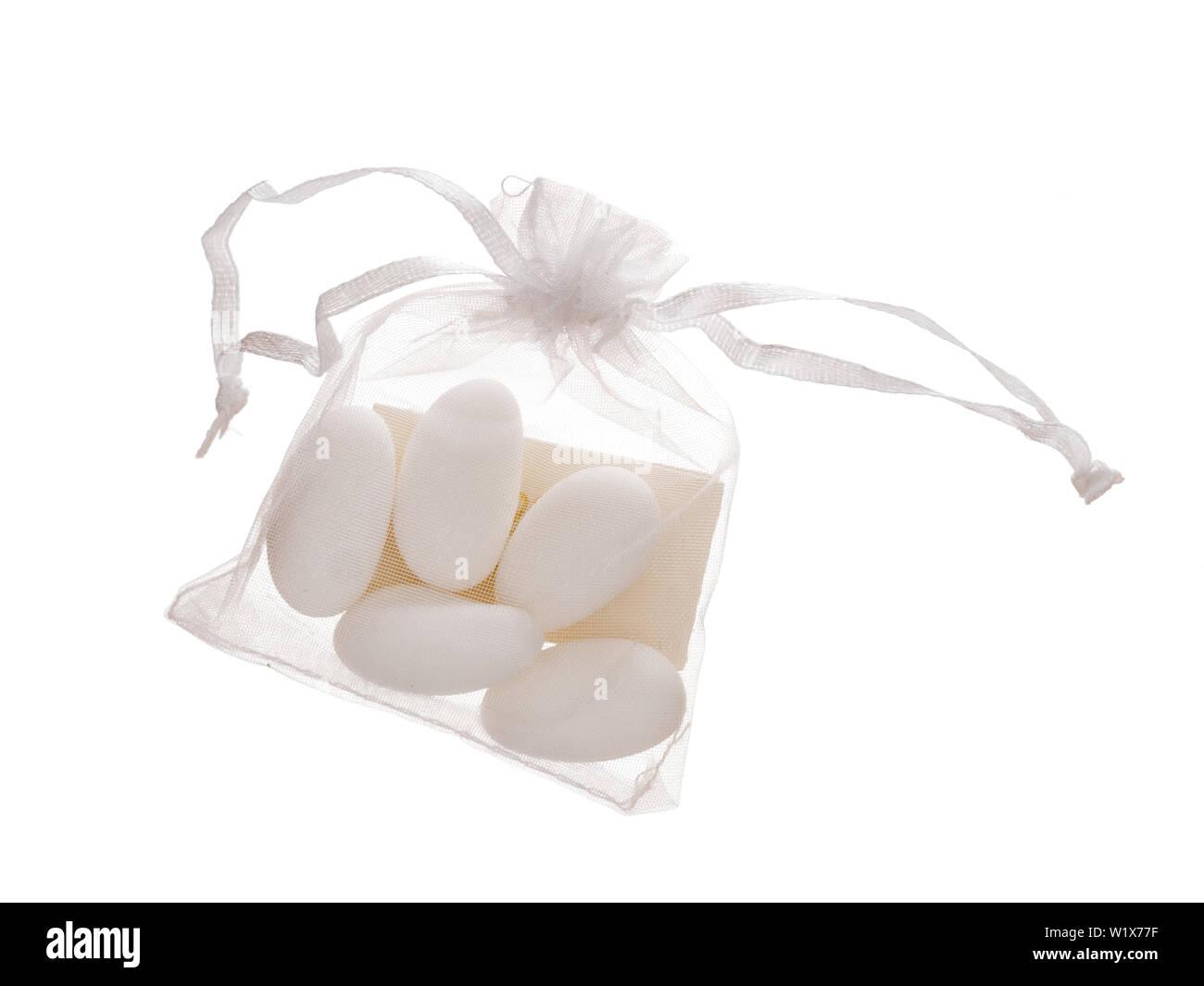 Bomboniere Inhalt 5 Zuckermandeln In Tasche Mit Hinweis
