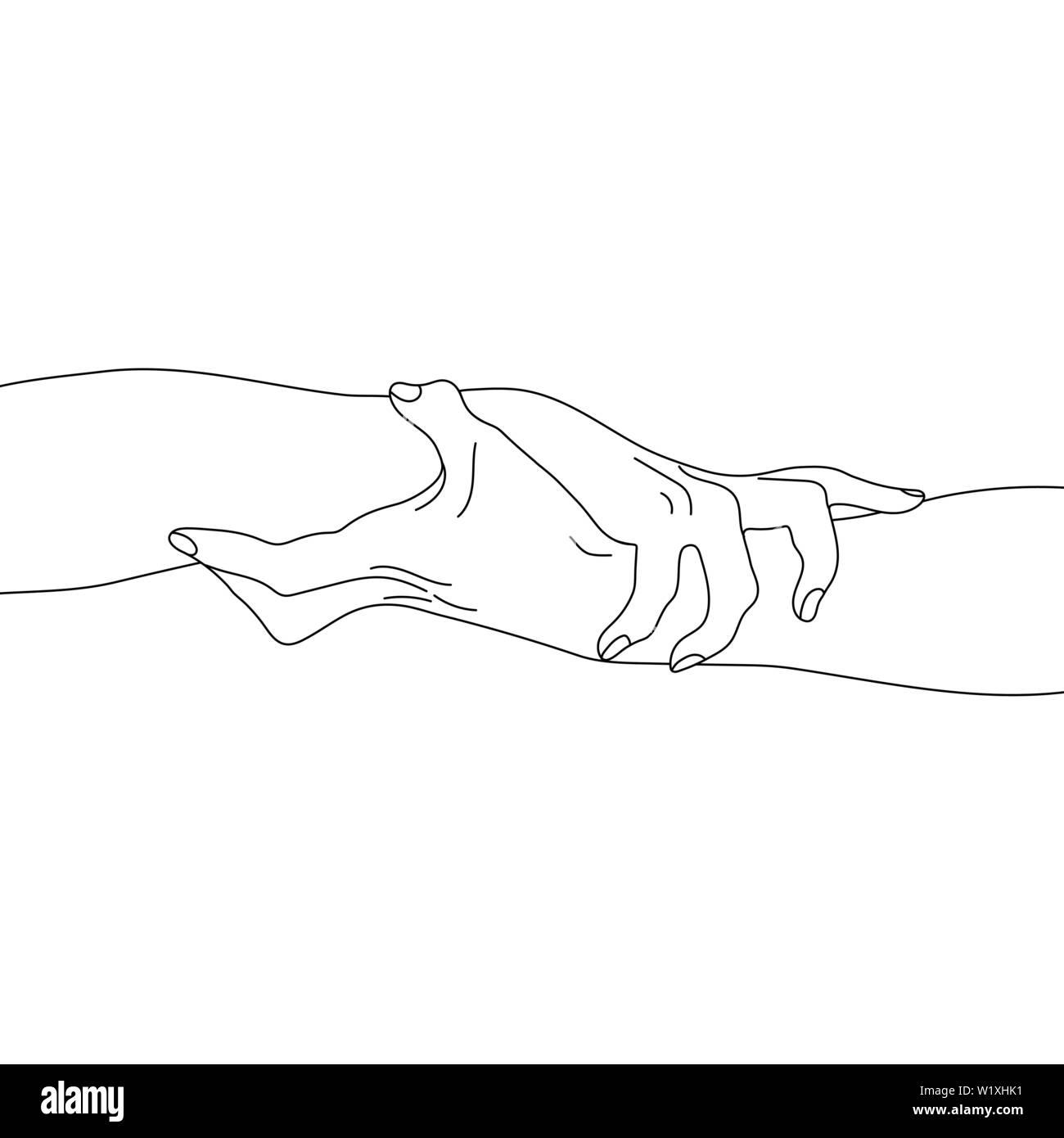Hände halten auf weißem Hintergrund. Team, Partner Alliance Konzept. Skizzieren Beziehung Symbol. Vector Illustration für Ihr Design Stock Vektor