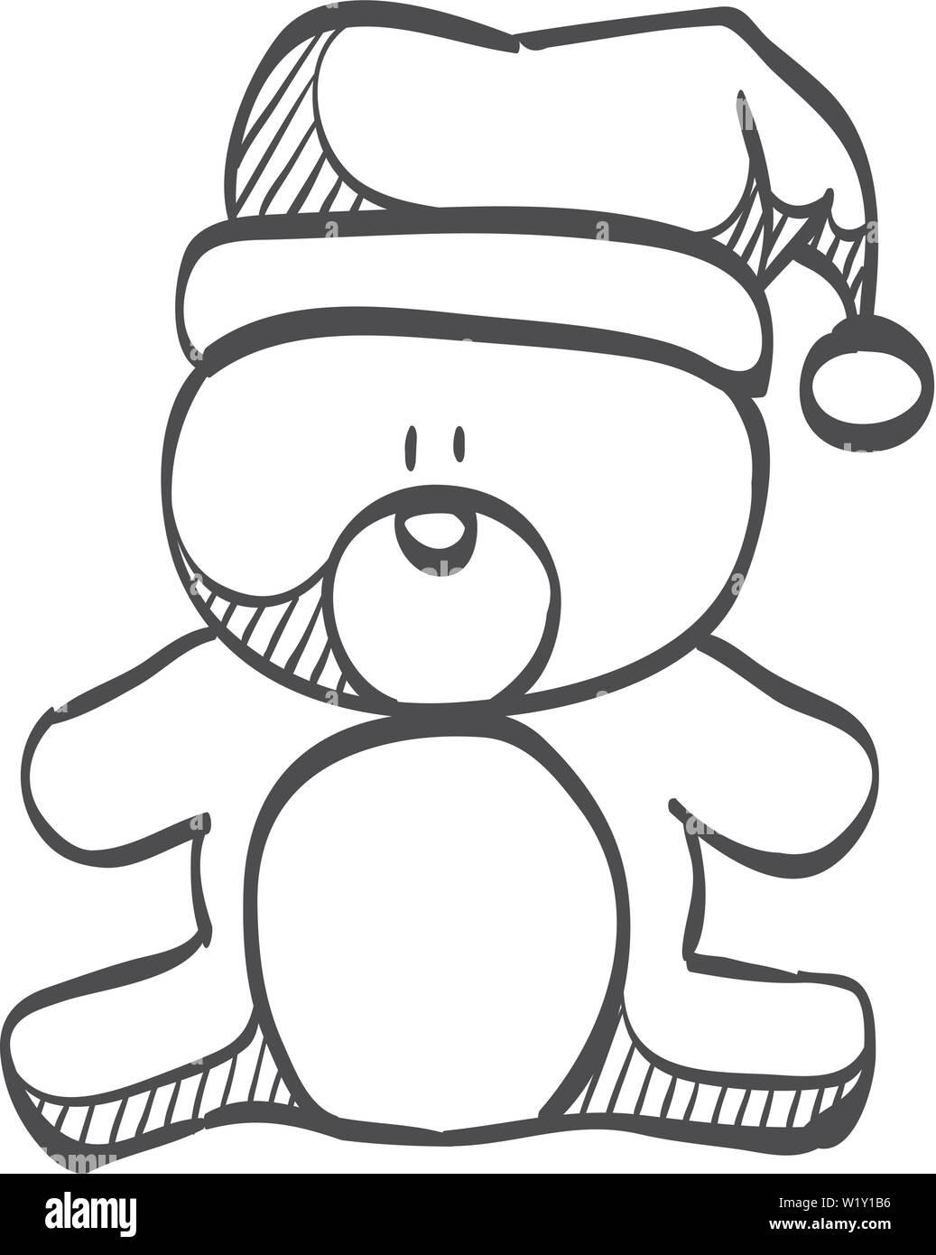 Doodle Weihnachtsfeier.Teddybär Symbol In Doodle Skizze Linien Weihnachtsfeier Geschenk