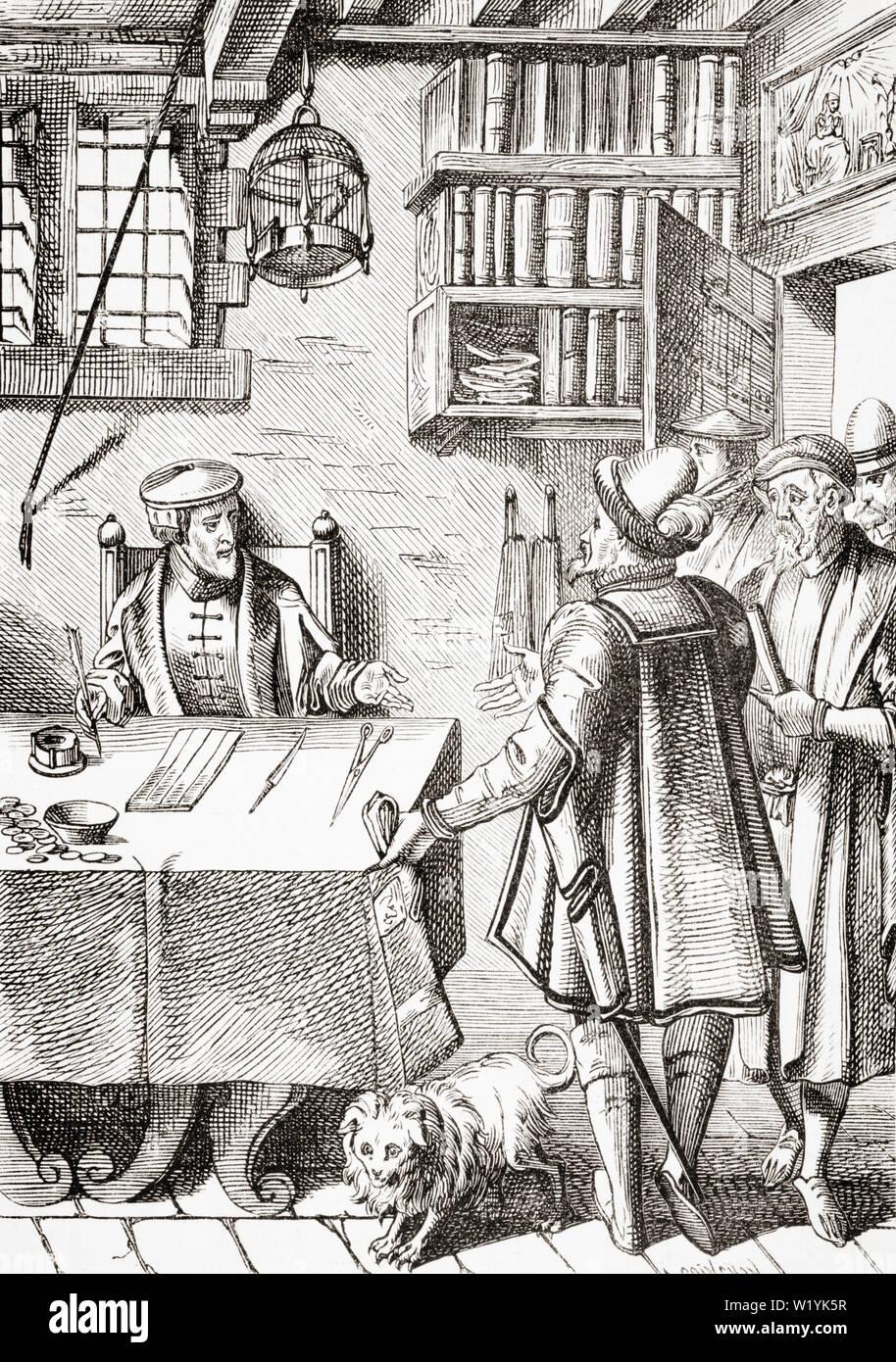 Der Empfänger der Steuern. Kopie der Holzschnitt in der Praxis Rerum Civilium Damhoudere Stockbild
