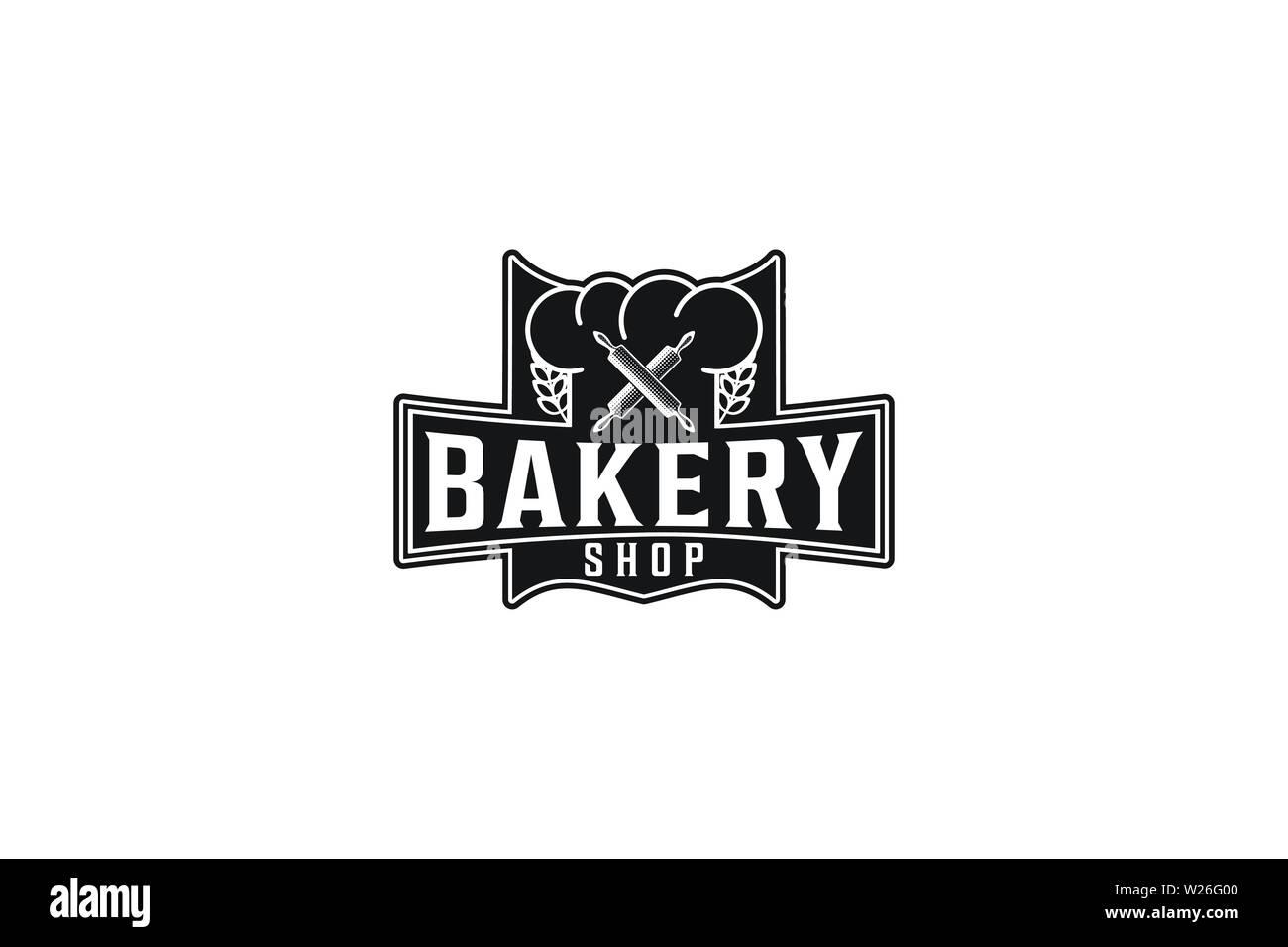 Rolling Pin gekreuzt, Vintage Bäckerei Logo Designs