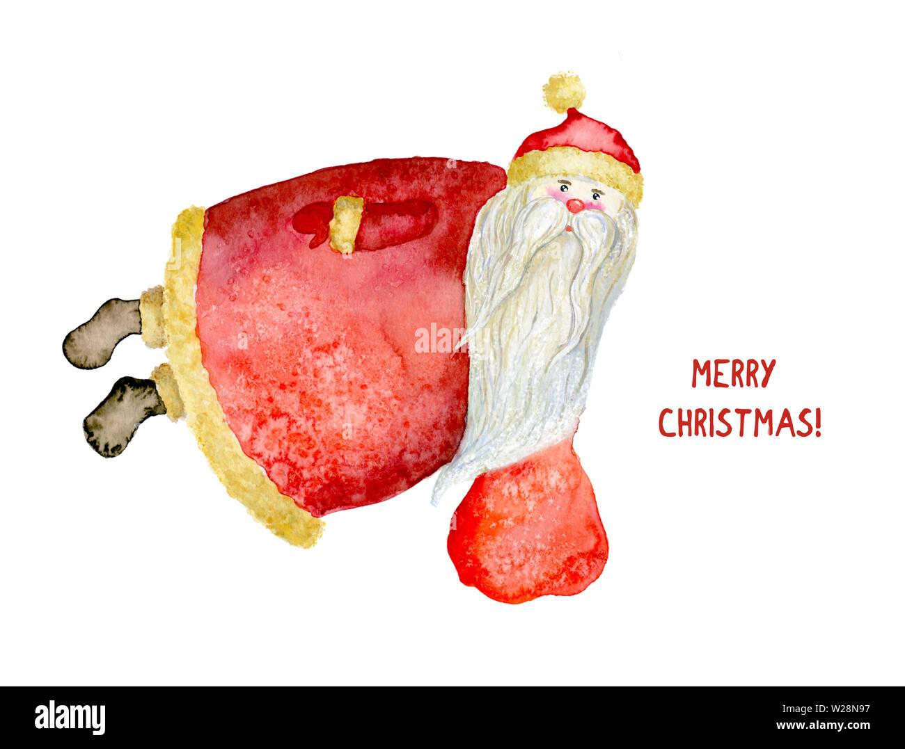 Aquarell Abbildung Von Santa Claus Fliegen Mit Einem Beutel