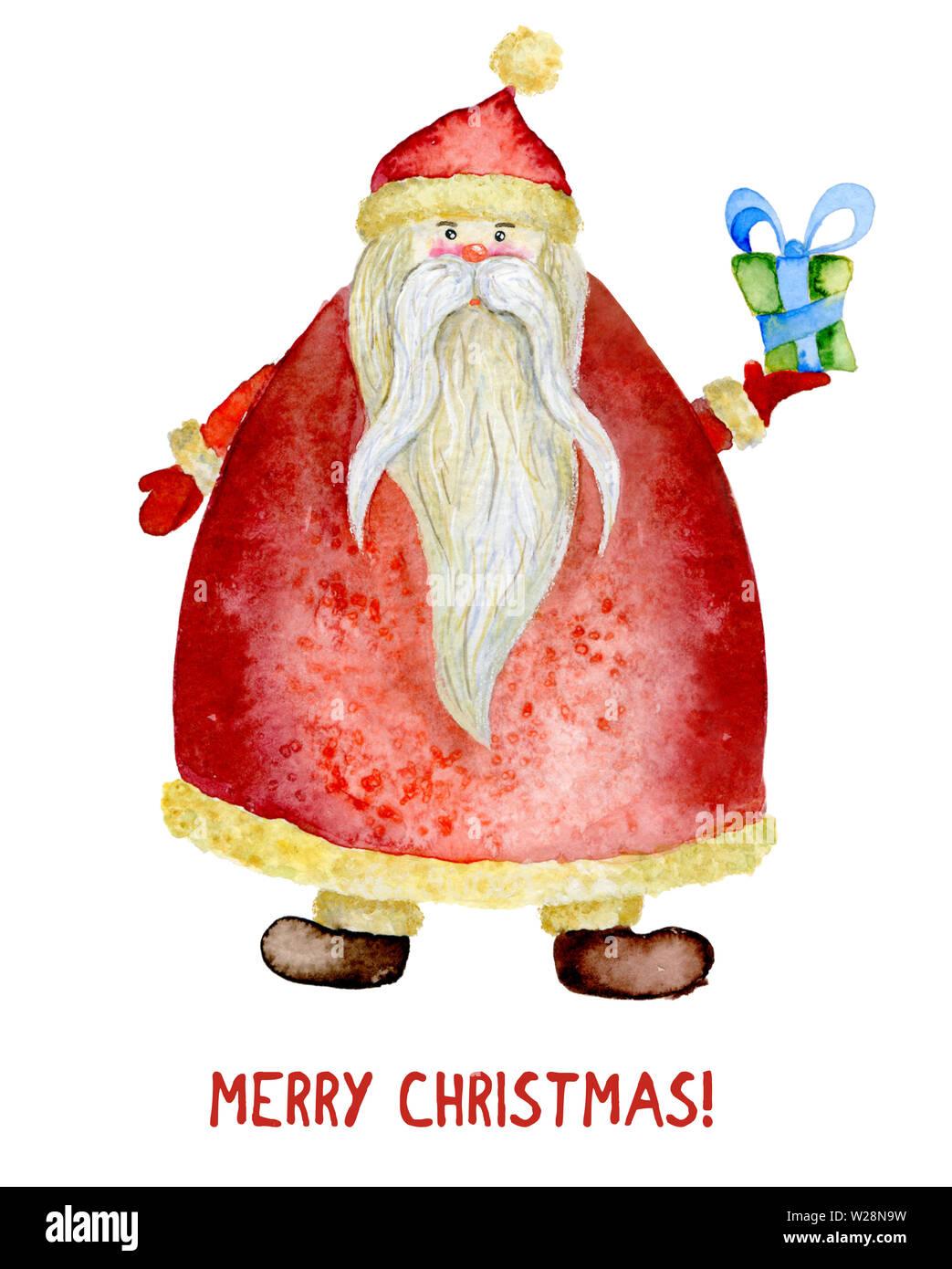 Geschenkanhänger Frohe Weihnachten.Aquarell Abbildung Santa Claus Mit Einem Geschenk Frohes Neues