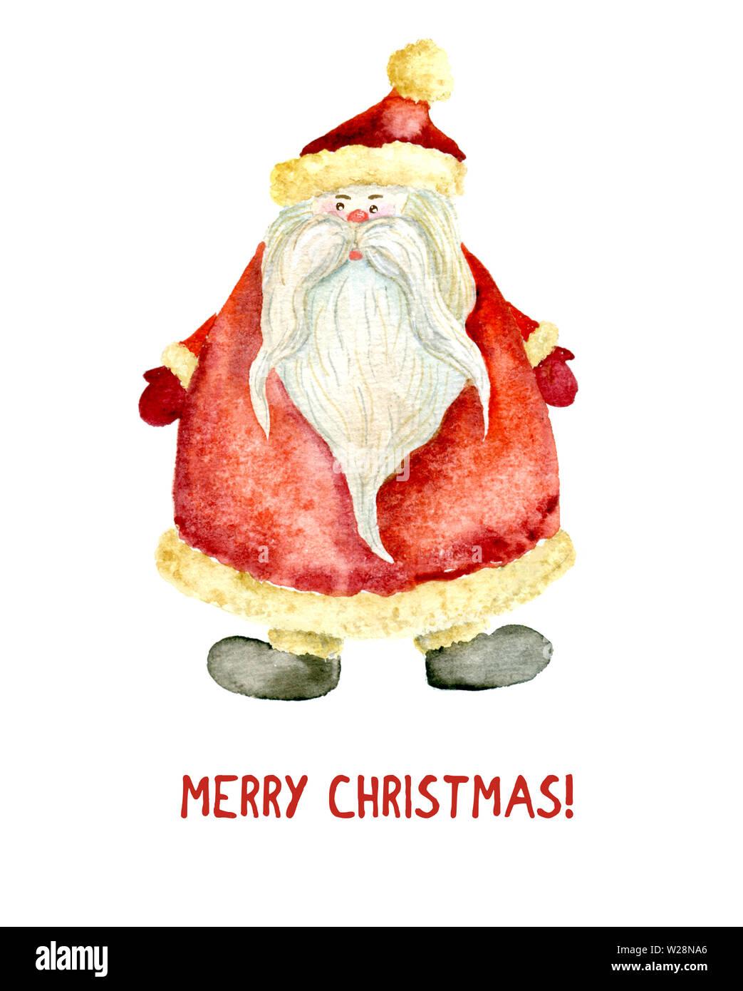 Geschenkanhänger Frohe Weihnachten.Aquarell Abbildung Von Santa Claus Ein Frohes Neues Jahr Und Frohe