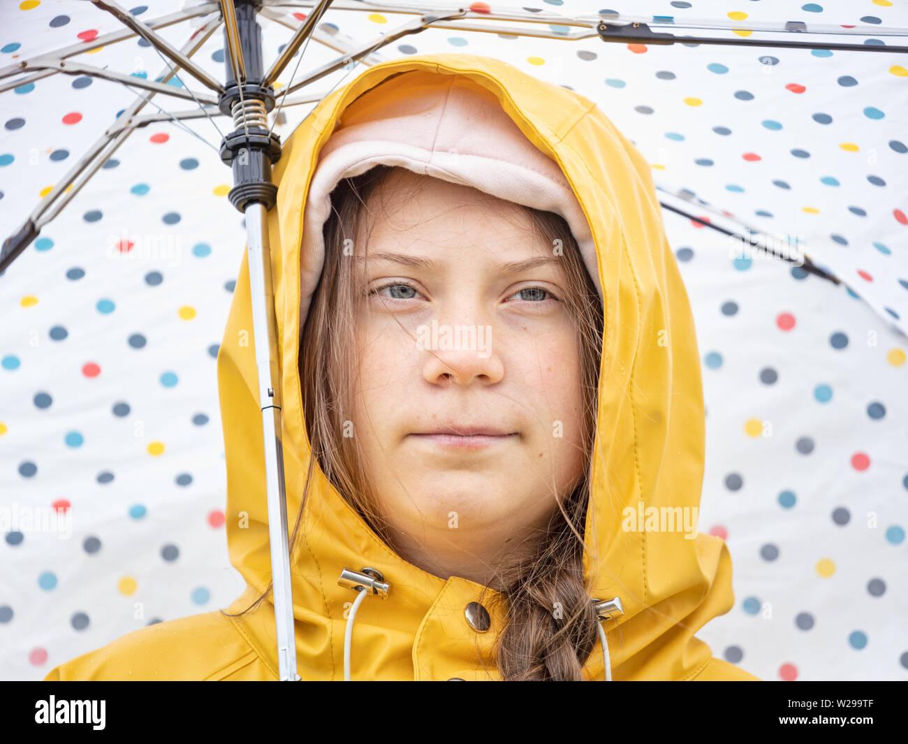 Stockholm, Schweden. 5. Juli, 2019. Der 16-jährige schwedische Klima Aktivistin Greta Thunberg Demonstration in Stockholm am Freitag. Stockfoto
