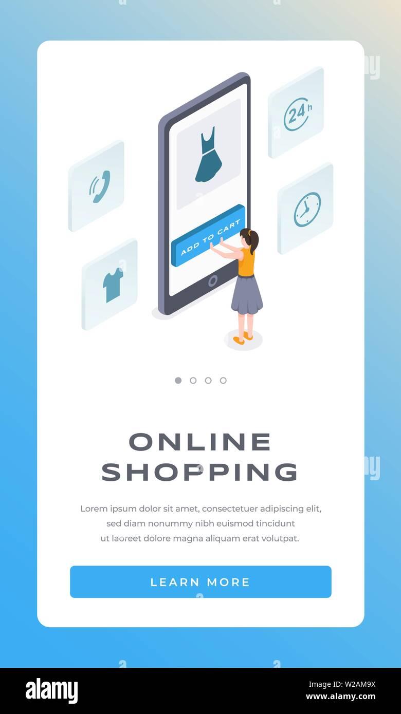 premium selection d7d10 72278 Online shopping Isometrische mobile App Seite vektor Vorlage ...
