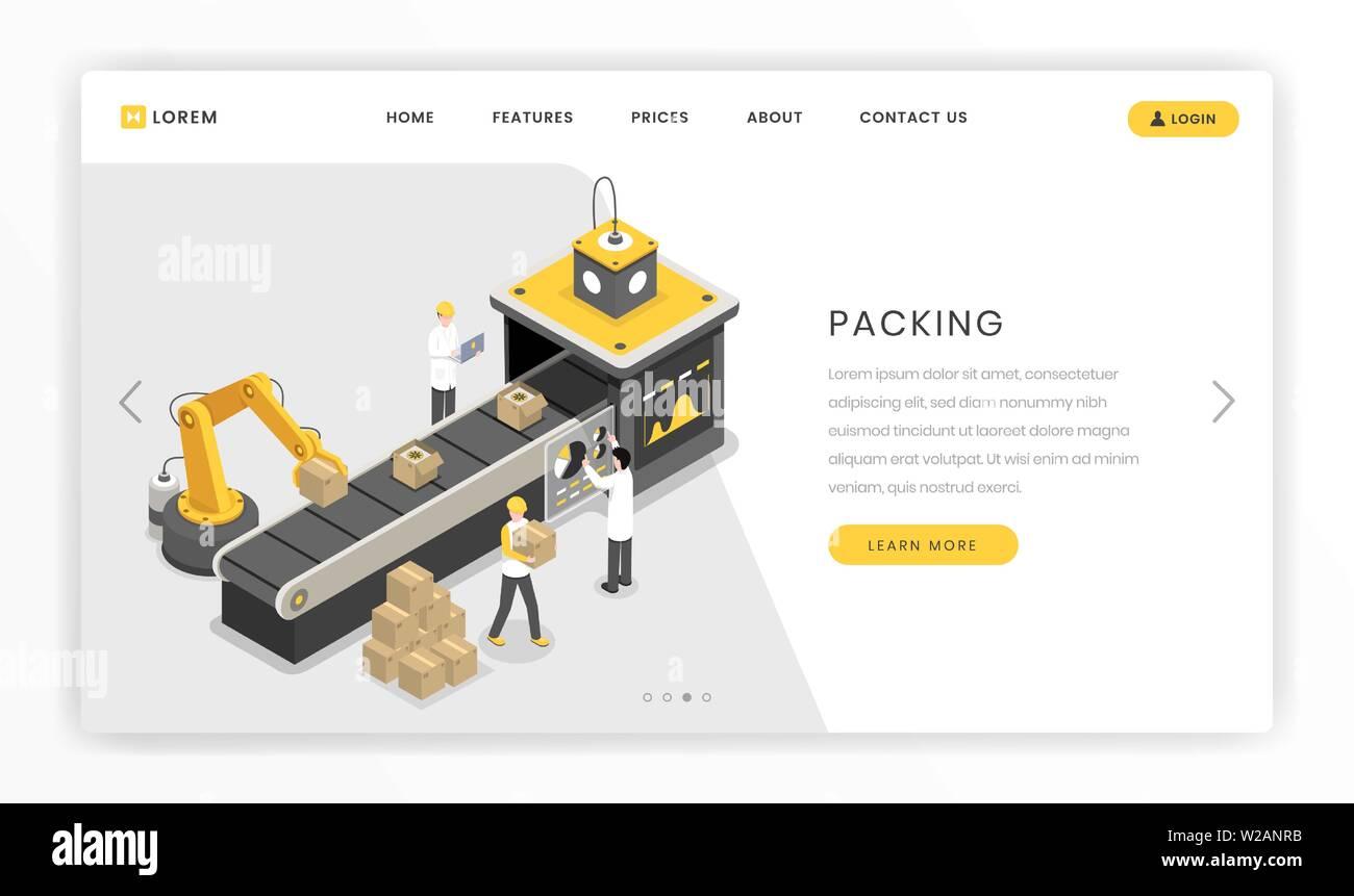 Verpackung die Herstellung, die Montage der Bühne landing page. Automatisierte Robotik kralle Verpackung Produkte zur Lieferung Vektor-illustration bereit. Herstellung Industrie Arbeiter, Ingenieure, Wissenschaftler Stockbild