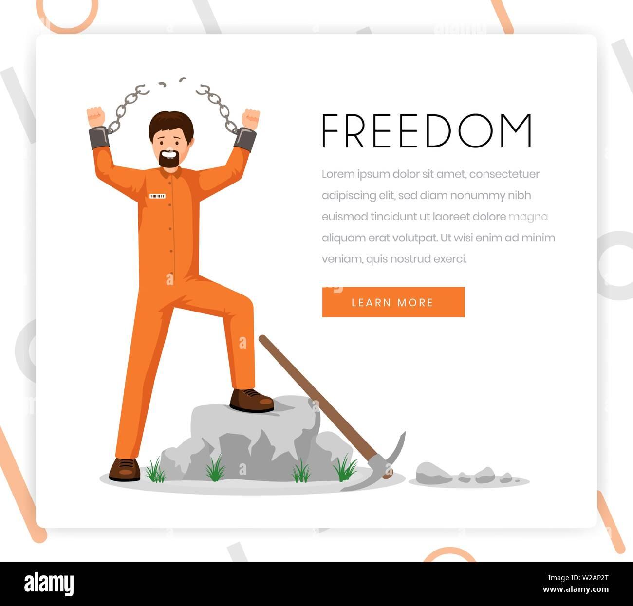 Eroberung der Freiheit Vektor landing page Template. Befreiten Gefangenen, überführen sie in Uniform mit gebrochenen Schäkel mit siegreichen Geste flachbild Charakter. Organisation für Menschenrechte homepage design Layout Stockbild