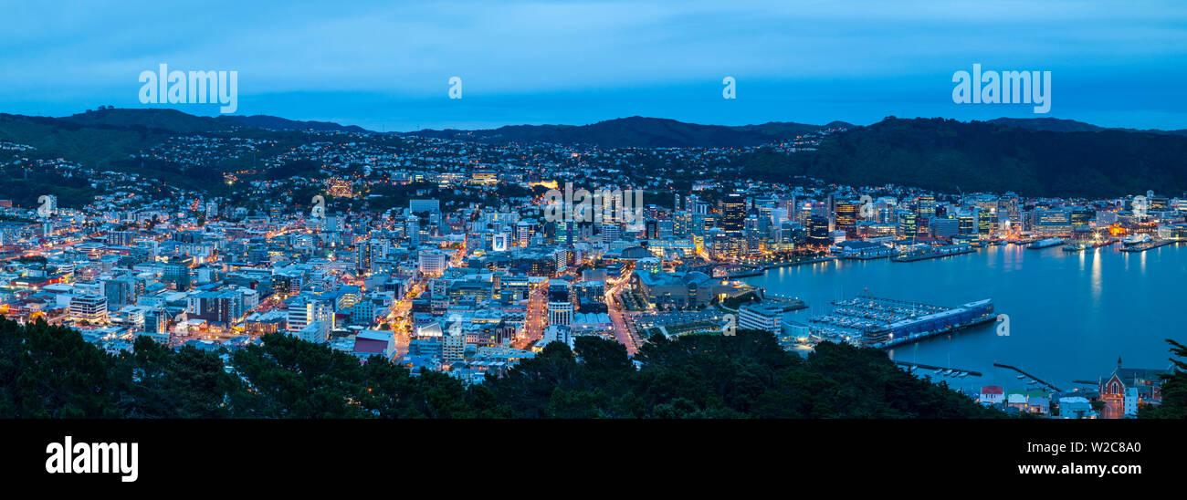 Erhöhten Blick auf Zentrum von Wellington leuchtet in der Dämmerung, Wellington, Nordinsel, Neuseeland Stockbild