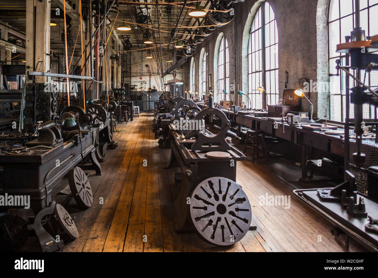USA, New Jersey, West Orange, Thomas Edison National Historical Park, Interieur, Fabrikhalle Stockfoto