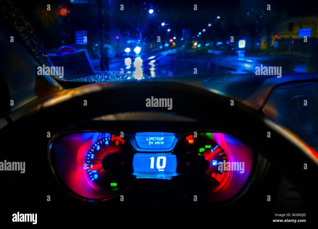 Das Fahren bei Nacht, Armaturenbrett Stockbild
