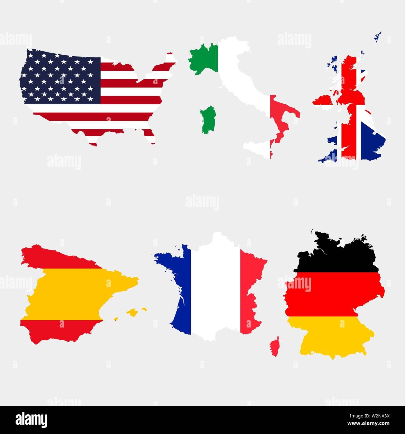 Einstellen Der Karte Flaggen Usa Italien Vereinigtes Konigreich