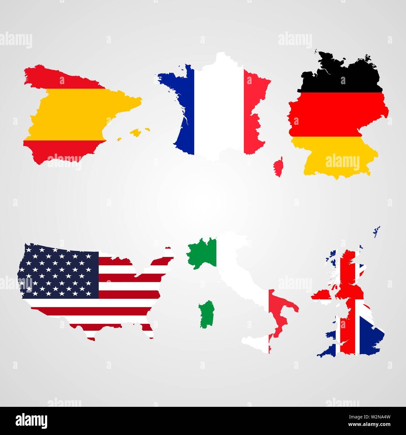 spanien deutschland karte Einstellen der Karte Flaggen Usa, Italien, Vereinigtes Königreich