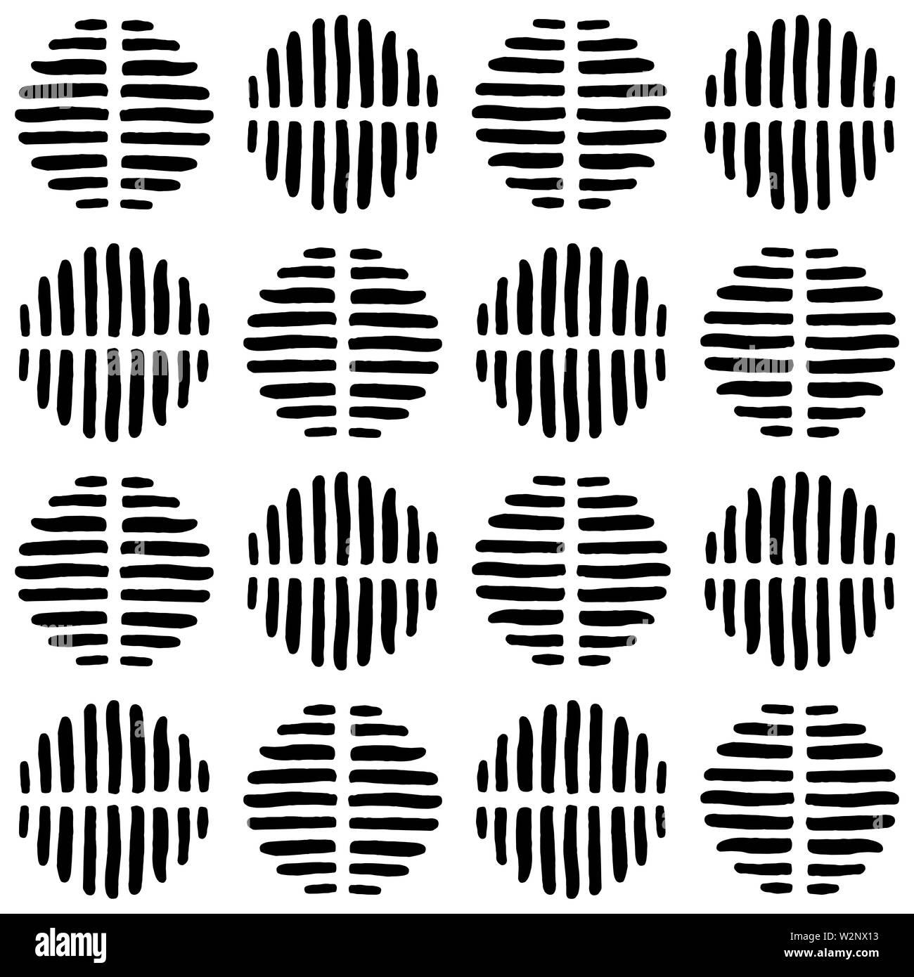 Eine abstrakte Gestreifte spots Muster, erstellt von Hand gezeichnet Formen. Stockbild