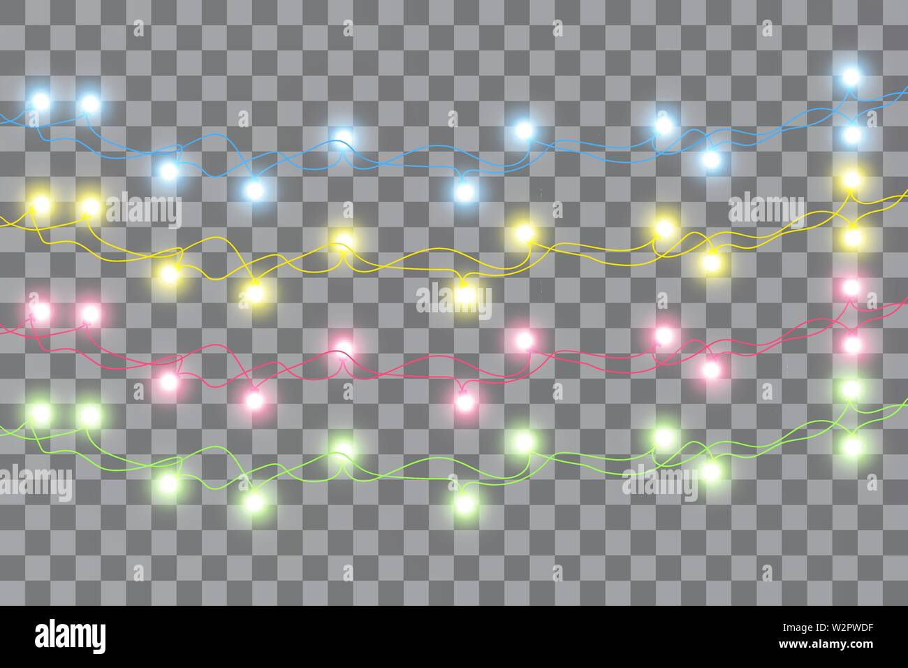Weihnachtsbeleuchtung Glühlampen.Colorful Green Glowing Christmas Lights Vector Stockfotos Colorful