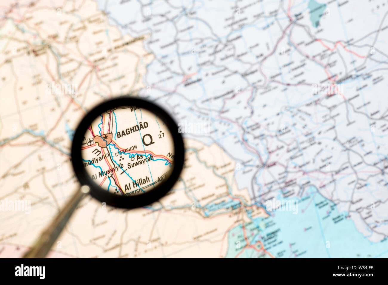 Landkarte mit der Erhöhung der irakischen Hauptstadt Bagdad. Das Konzept der Bildschirmschoner Übersicht. Serie. Stockbild