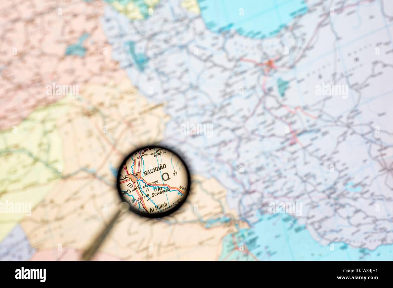 Landkarte mit der Erhöhung der irakischen Hauptstadt Bagdad. Das Konzept der Bildschirmschoner Übersicht Stockbild