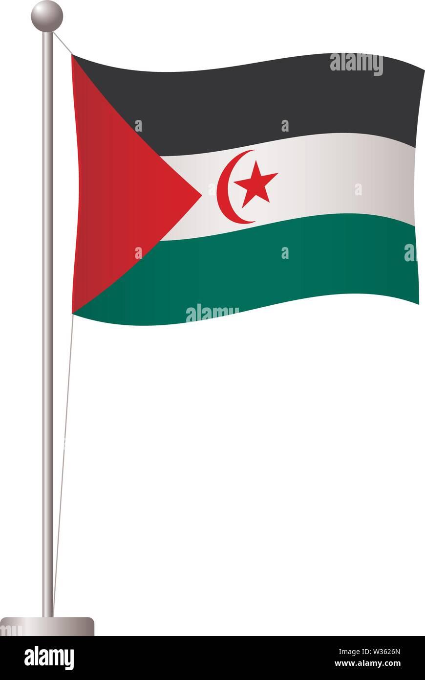 Arabische saharauische Demokratische Republik Flagge auf der Pole. Metall Fahnenmast. Nationalflagge von Arabische saharauische Demokratische Republik Vector Illustration Stockbild