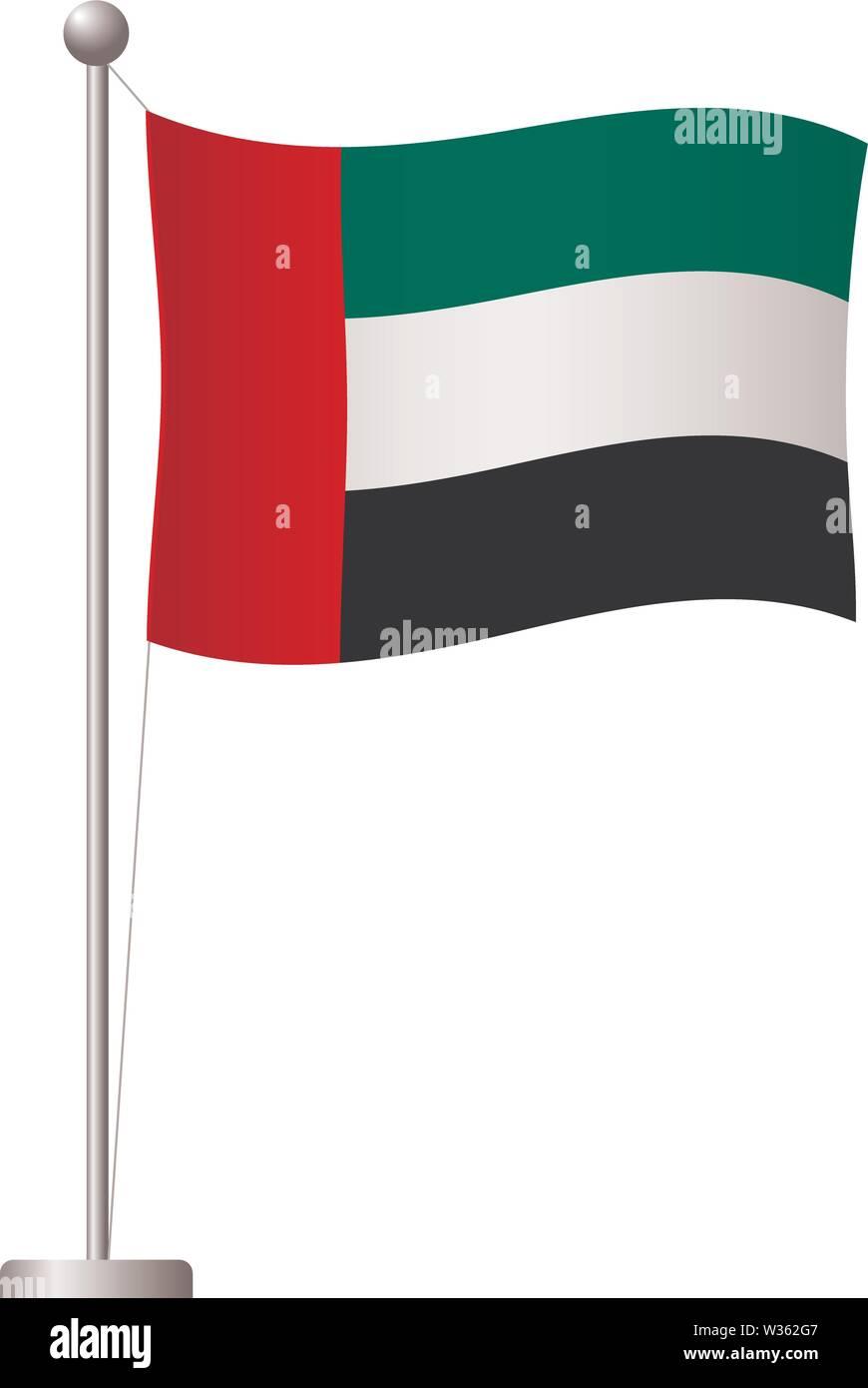 Vereinigte Arabische Emirate Fahne auf der Pole. Metall Fahnenmast. Die Flagge der Vereinigten Arabischen Vector Illustration Stockbild