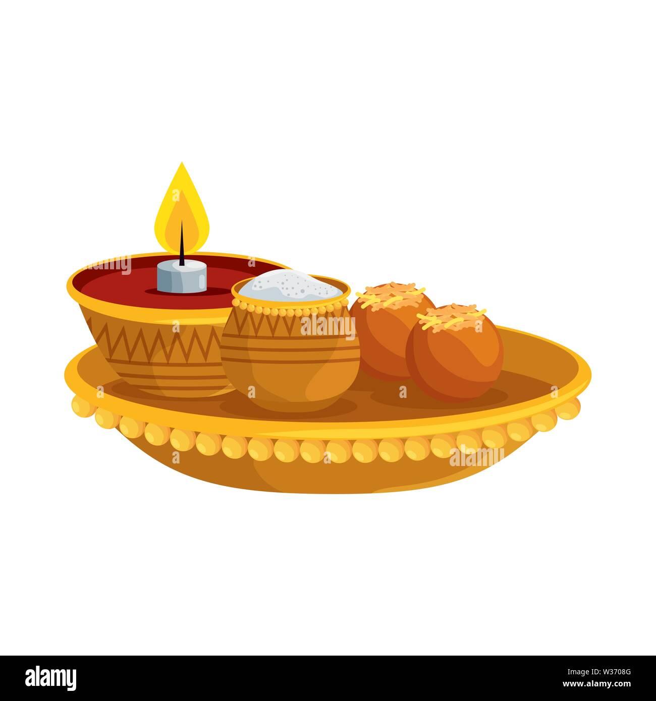 Ramadan Kareem Schale mit Kerze und Essen Stockbild